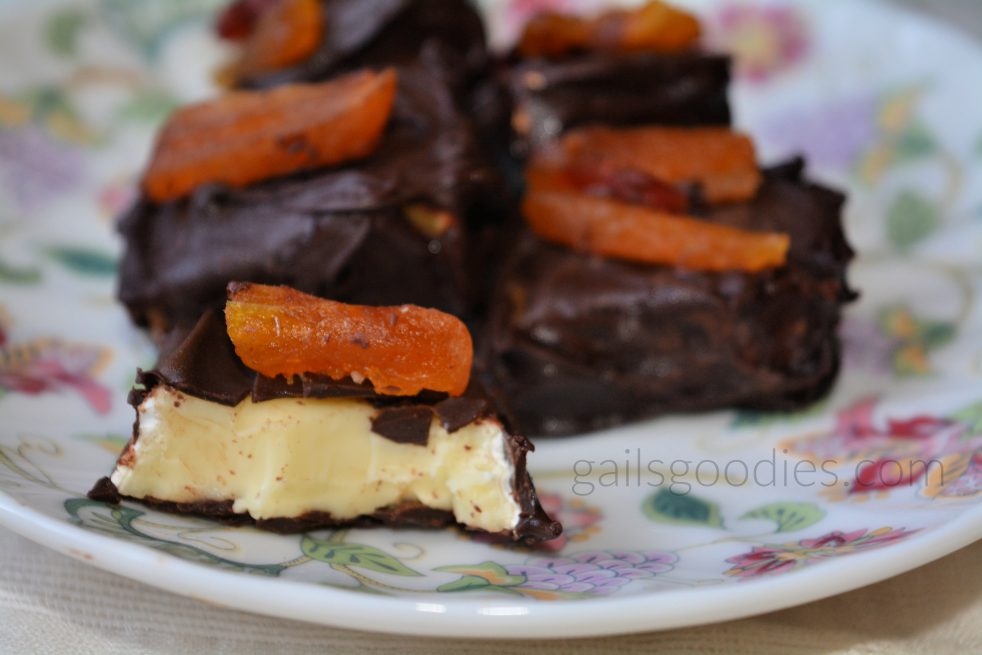 squares of chocolate covered brie decorated with dried fruits sit on a floral plate. The square in front has a bite taken so you can see the brie inside. Each square is topped with dried apricots and/or dried cranberries.
